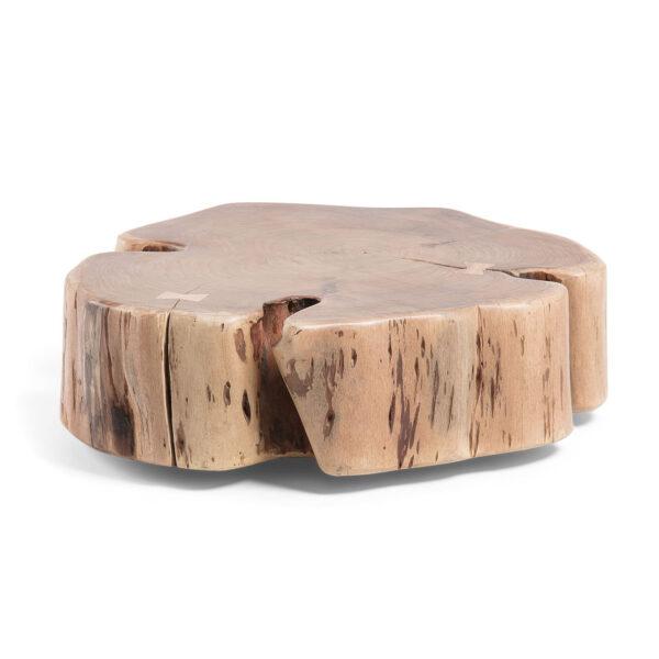 LAFORMA Rikke sofabord, asymmetrisk, m. hjul - massivt akacietræ m. naturlige kanter (65x60)