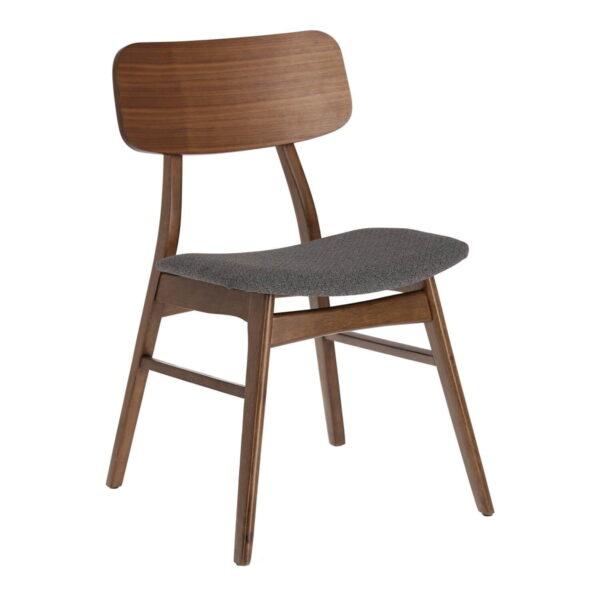 LAFORMA Selia spisebordsstol - mørkegrå stof, brun valnøddefiner og gummitræ