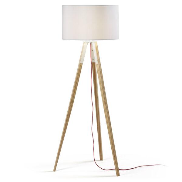 LAFORMA Uzagi gulvlampe - hvid/natur stof/træ