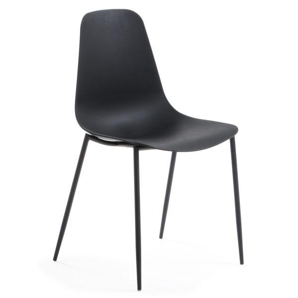 LAFORMA Wassu spisebordsstol - sort plastik og metal