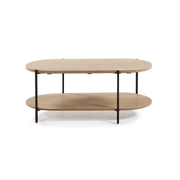 LAFORMA oval Palmia sofabord m. 1 hylde - natur mangotræ og metal (110x55)