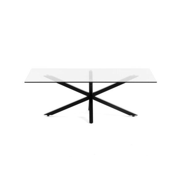 LAFORMA rektangulær Argon sofabord - klar glas og sort stål (130x70)
