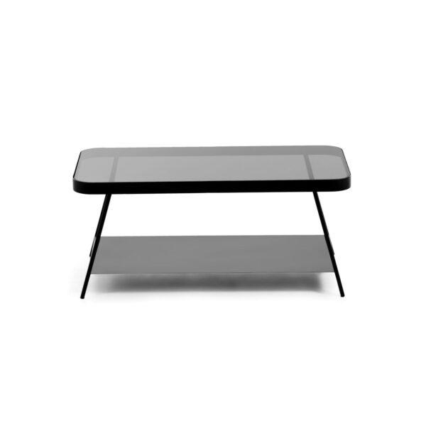 LAFORMA rektangulær Duilia sofabord m. hylde - sort glas og metal (90x45)