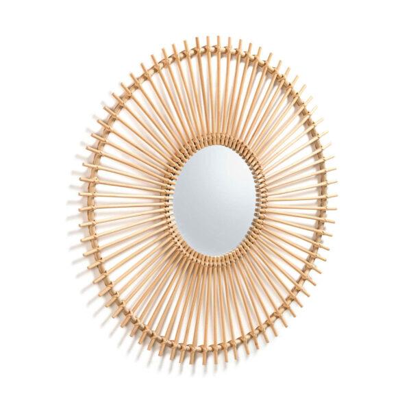 LAFORMA rund Louisa vægspejl - spejlglas og natur rattan, håndlavet (Ø81)