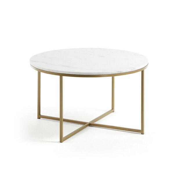 LAFORMA rund Sheffield sofabord - hvid marmor og guld metal (Ø80)