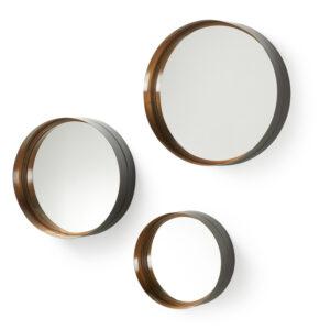 LAFORMA rund Wilson vægspejl - spejlglas og messing sort stål (sæt á 3)