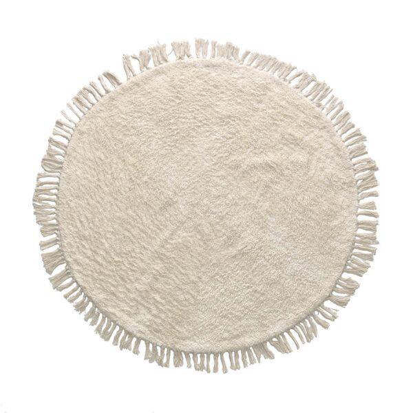 LAFORMA runt Orwen gulvtæppe - hvid bomuld (Ø100)