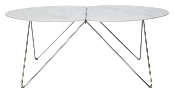 RGE Ant sofabord - hvid glas, oval, (48x63x116cm)
