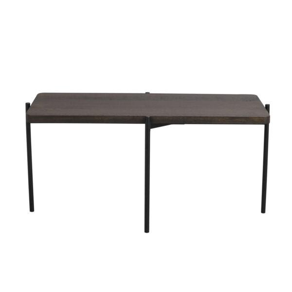 ROWICO Shelton sofabord - brun asketræ og sort metal (95x50)