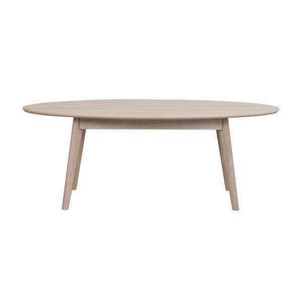 ROWICO oval Yumi sofabord - hvidvasket egetræsfiner og eg (130x65)