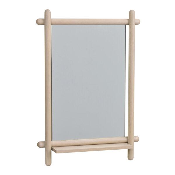 ROWICO rektangulær Milford vægspejl m. hylde - spejlglas og hvidvasket eg (74x52)