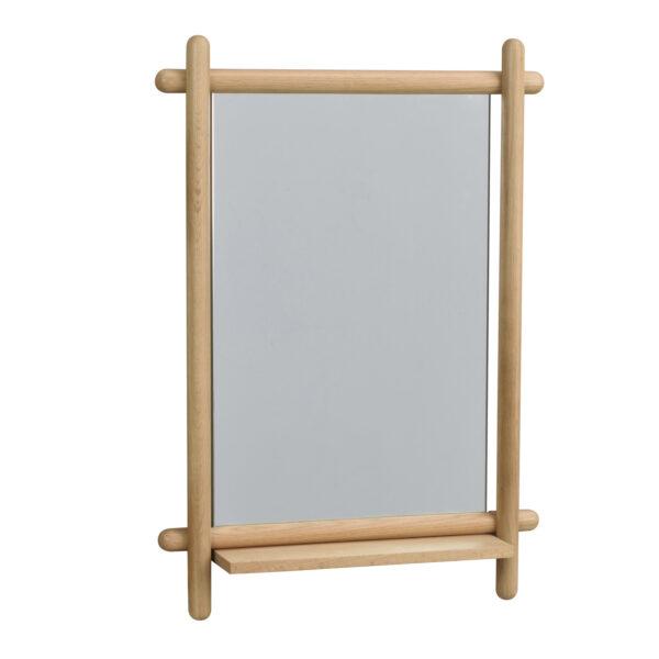 ROWICO rektangulær Milford vægspejl m. hylde - spejlglas og natur eg (74x52)