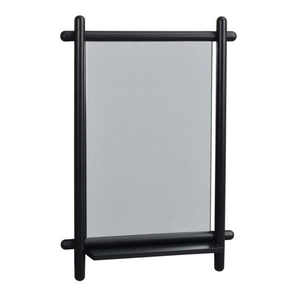 ROWICO rektangulær Milford vægspejl m. hylde - spejlglas og sort eg (74x52)