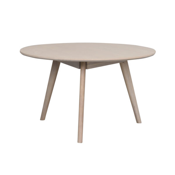 ROWICO rund Yumi sofabord - hvidvasket egetræsfiner og eg (Ø90)