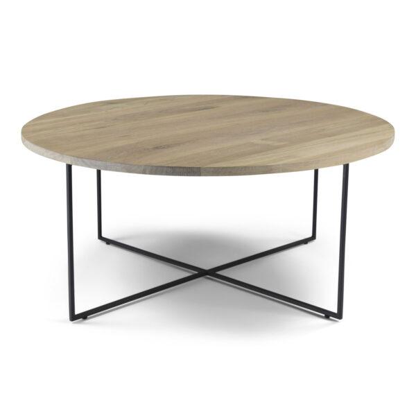 SPINDER DESIGN Dress sofabord, rund - massivt egetræ og sort stål (Ø 79)