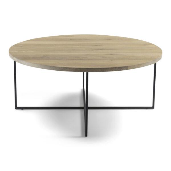 SPINDER DESIGN Dress sofabord, rund - massivt egetræ og sort stål (Ø 89)