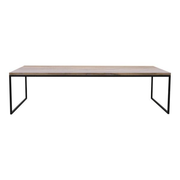 SPINDER DESIGN Mall sofabord, rektangulær - natur træ og sort stål (140x70)
