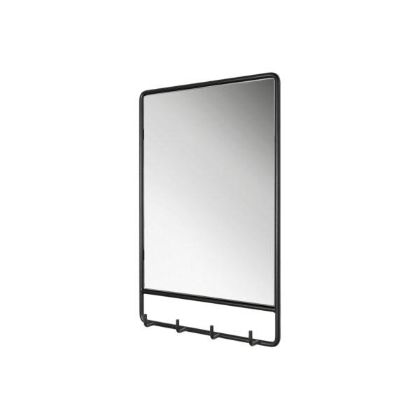 SPINDER DESIGN rektangulær Clint vægspejl, m. knagerække - spejlglas og sort stål