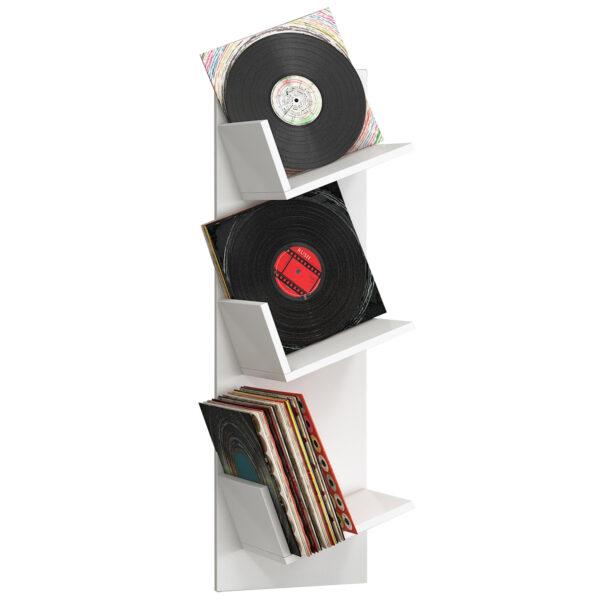 Sulda LP væghylde, m. plads til 100 LP-er - hvid træ