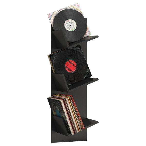Sulda LP væghylde, m. plads til 100 LP-er - sort træ