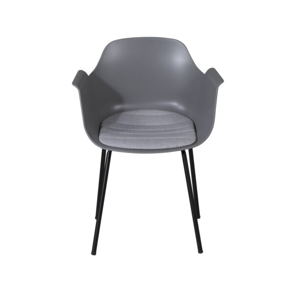 VENTURE DESIGN Comfort spisebordsstol, m. armlæn og hynde - grå plastik og sort metal