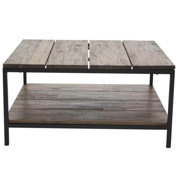 VENTURE DESIGN Padang sofabord, m. 1 hylde - brun træ og metal (80x80)