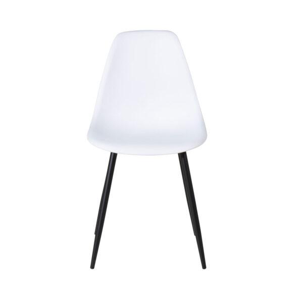 VENTURE DESIGN Polar Plastic spisebordsstol - hvid plastik og sort metal