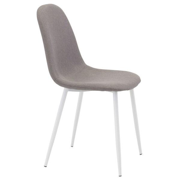 VENTURE DESIGN Polar spisebordsstol - grå polyester og hvid metal