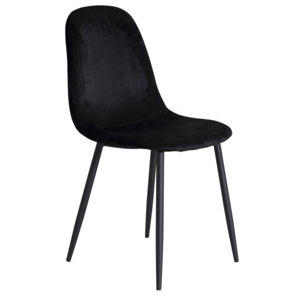VENTURE DESIGN Polar spisebordsstol - sort velour og sort metal