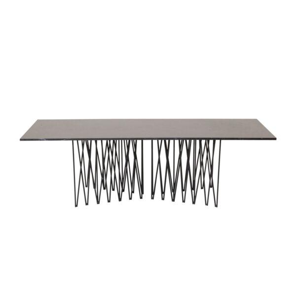 VENTURE DESIGN Stone sofabord, rektangulær - sort kunstig sten og metal (140x60)