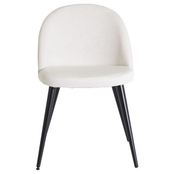 VENTURE DESIGN Velvet spisebordsstol, m. armlæn - beige fløjl og sort metal