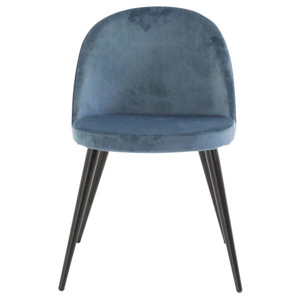 VENTURE DESIGN Velvet spisebordsstol, m. armlæn - blå velour og metal