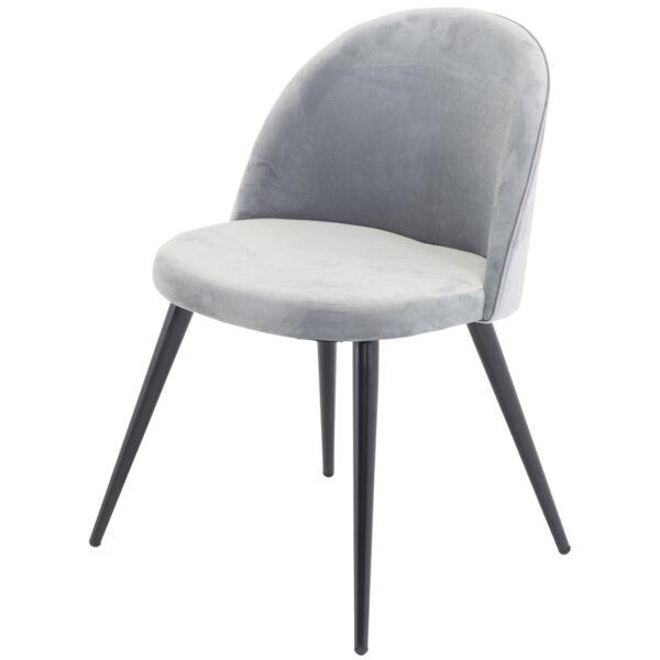 VENTURE DESIGN Velvet spisebordsstol, m. armlæn - grå velour og metal
