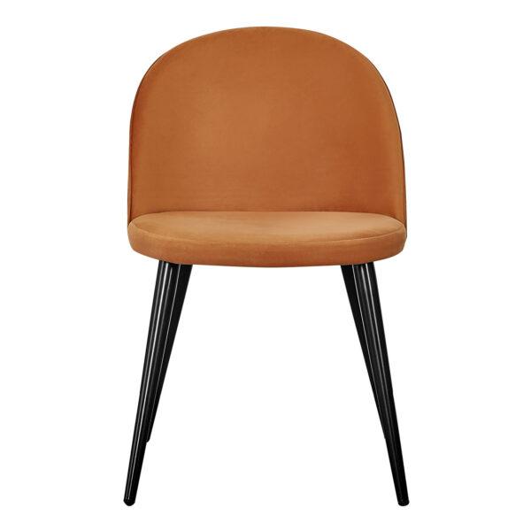 VENTURE DESIGN Velvet spisebordsstol, m. armlæn - rust orange velour og metal