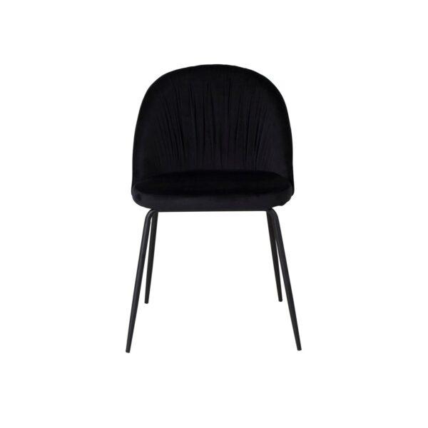 VENTURE DESIGN Wrinkles spisebordsstol - sort velour og sort metal