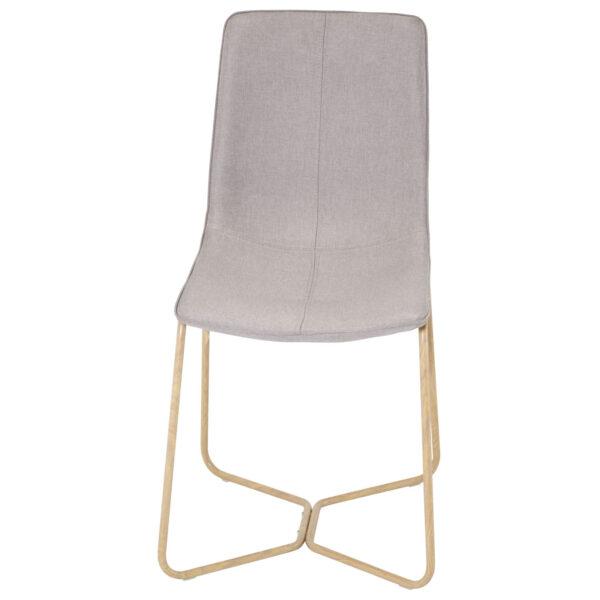 VENTURE DESIGN X-Chair spisebordsstol - grå polyester og natur metal
