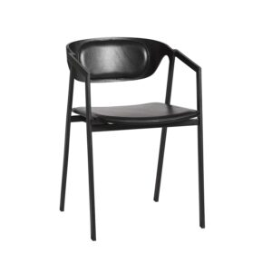 WOUD S.A.C. spisebordsstol, m. armlæn - sort læder og metal