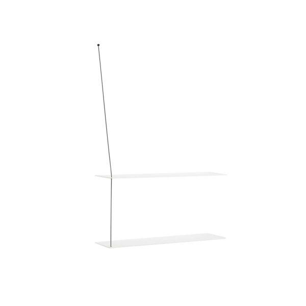 WOUD Stedge væghylde, m. 2 hylder - hvid egetræ og metal (80x22)