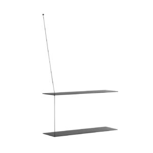 WOUD Stedge væghylde - sort egetræ og metal, m. 2 hylder (80cm)