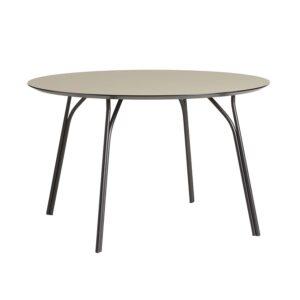 WOUD Tree spisebord - beige laminat og sort metal (Ø120)