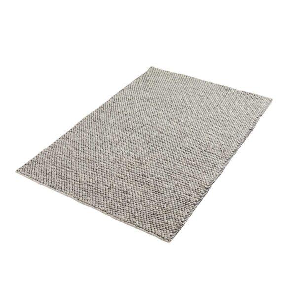 WOUD rektangulær Tact gulvtæppe - grå uld og bomuld